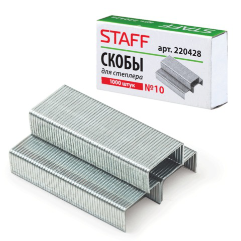 Скобы для степлера STAFF №10, 1000 штук, в картонной коробке, до 20 листов, 220428  Код: 220428