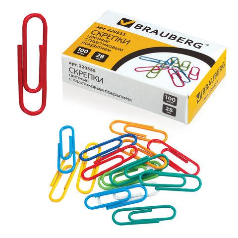Скрепки BRAUBERG (Брауберг) 28 мм цветные, 100 шт., в картонной коробке, РОССИЯ, 220555  Код: 220555