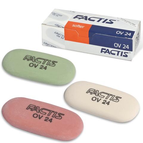 Резинка стирательная FACTIS мягкая для карандаша овальная, 49х23,5х9,2 мм, OV24  Код: 220856