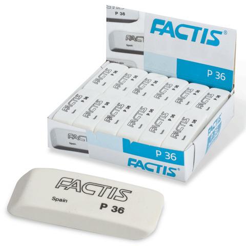 Резинка стирательная FACTIS P 36 (Испания), клиновидная, скошенные края, 56х20х9мм, ПВХ, CPFP36B  Код: 220858