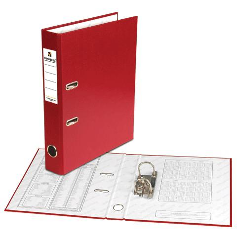 Папка-регистратор BRAUBERG (Брауберг) с покрытием из ПВХ, 50 мм, бордовая (удвоенный срок службы), 220887  Код: 220887