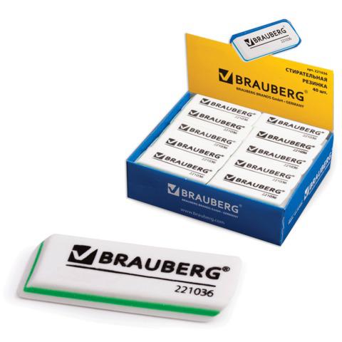 """Резинка стирательная BRAUBERG (Брауберг) """"Partner"""", 57*18*8 мм, трёхслойная, белая, в карт дисплее, 221036  Код: 221036"""