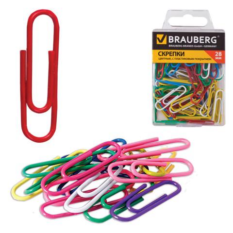 Скрепки BRAUBERG (Брауберг) 28 мм цветные, 100 шт. в пласт. кор., 221111  Код: 221111