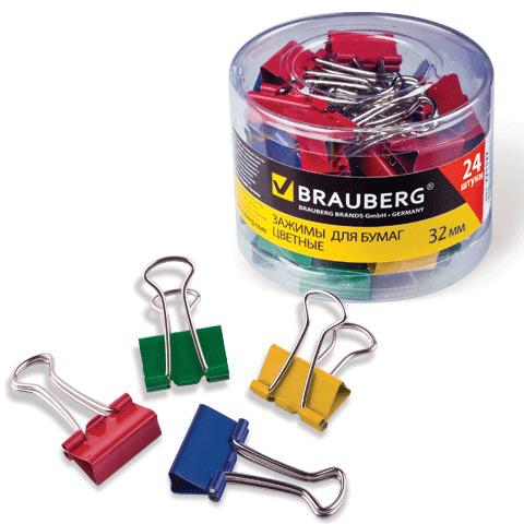 Зажимы для бумаг BRAUBERG, КОМПЛЕКТ 24шт., 32мм, на 140л., цветные, в пластиковом цилиндре, 221129  Код: 221129