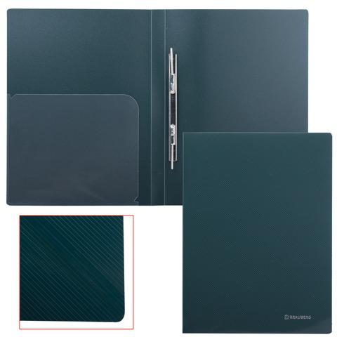 Папка с металическим скоросшивателем и внутренним карманом BRAUBERG (Брауберг) Диагональ, т-зеленая, до 100 листов, 0,6мм, 221354  Код: 221354