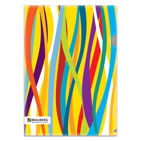"""Папка-уголок с рисунком BRAUBERG (Брауберг) """"Экспрессия"""", А4, разноцветные полосы, 0,18 мм, 221412  Код: 221412"""
