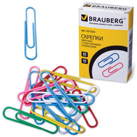 Скрепки BRAUBERG (Брауберг) 50 мм цветные, 50 шт., в картонной коробке, 221533  Код: 221533