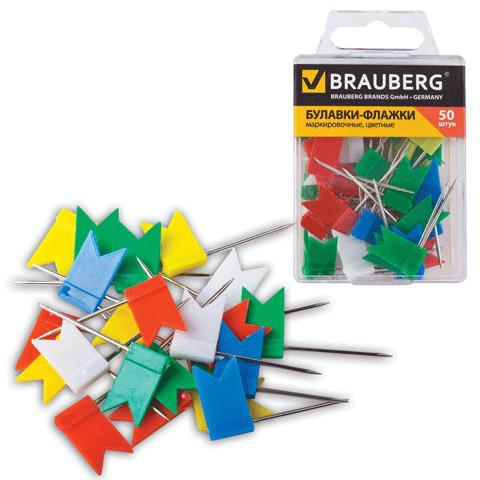Булавки-флажки маркировочные BRAUBERG (Брауберг) цветные, 50 шт., в пласт. коробке с европодвесом, 221537  Код: 221537