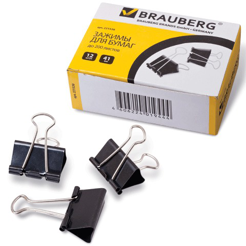 Зажимы для бумаг BRAUBERG, КОМПЛЕКТ 12шт., 41мм, на 200л, черные, в картонной коробке, 221538  Код: 221538