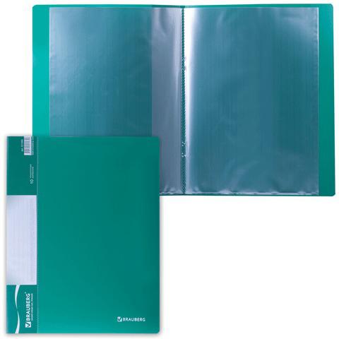 Папка  10 вкладышей BRAUBERG (Брауберг) Стандарт, зеленая, 0,5мм, 221589  Код: 221589