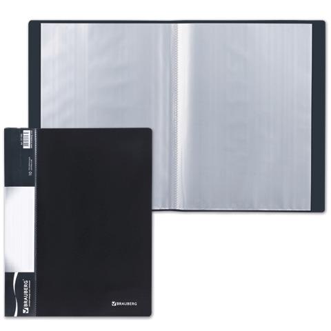 Папка  10 вкладышей BRAUBERG (Брауберг) Стандарт, черная, 0,5мм, 221592  Код: 221592