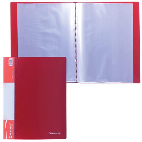 Папка  20 вкладышей BRAUBERG (Брауберг) Стандарт, красная, 0,6мм, 221594  Код: 221594
