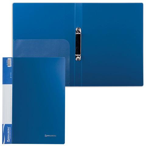 Папка на 2 кольцах BRAUBERG (Брауберг) Стандарт, 25мм, синяя, до 170 листов, 0,8мм, 221615  Код: 221615