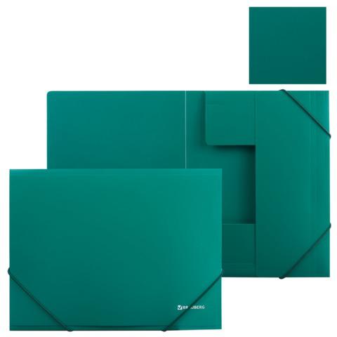 Папка на резинках BRAUBERG (Брауберг) Стандарт, зеленая, до 300 листов, 0,5мм, 221621  Код: 221621