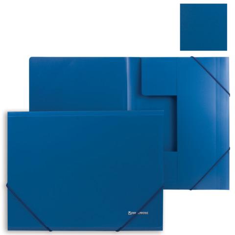 Папка на резинках BRAUBERG (Брауберг) Стандарт, синяя, до 300 листов, 0,5мм, 221623  Код: 221623