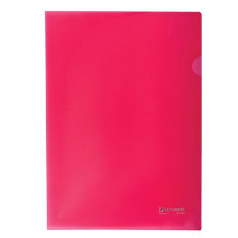 Папка-уголок жесткая BRAUBERG (Брауберг) красная 0,15мм, 221640  Код: 221640