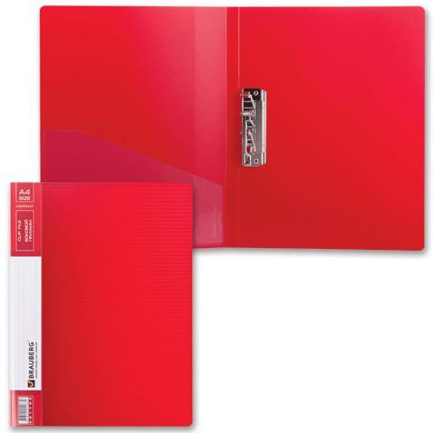 Папка с боковым металлическим прижимом и внутренним карманом. BRAUBERG (Брауберг) Contract, красная, до 100лис, 0,7мм,бизнес-класс  Код: 221788