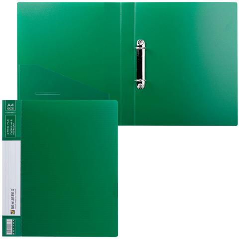 Папка на 2 кольцах BRAUBERG (Брауберг) Contract, 35мм, зеленая, до 270 листов, 0,9мм, 221794  Код: 221794