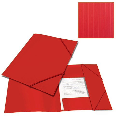 Папка на резинках BRAUBERG (Брауберг) Contract, красная, до 300 листов, 0,5мм, бизнес-класс, 221798  Код: 221798