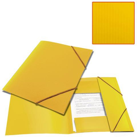 Папка на резинках BRAUBERG (Брауберг) Contract, желтая, до 300 листов, 0,5мм, бизнес-класс, 221800  Код: 221800