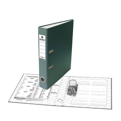 Папка-регистратор BRAUBERG (Брауберг) с покрытием из ПВХ, 50 мм, зеленая (удвоенный срок службы), 221816  Код: 221816