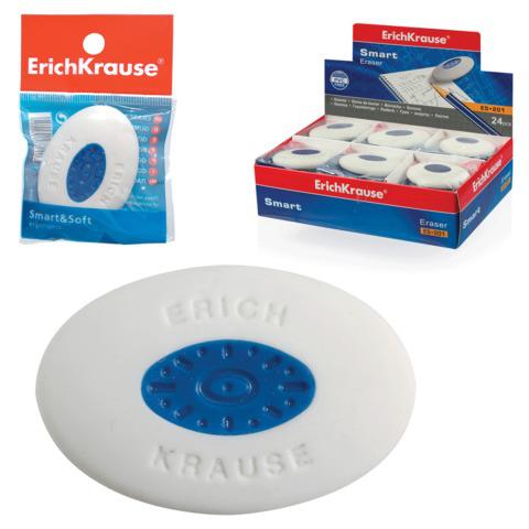 Резинка стирательная ERICH KRAUSE Smart Oval,овальная,57х34х13мм,белая,пласт.дер,дисплей,58005,45532  Код: 222301