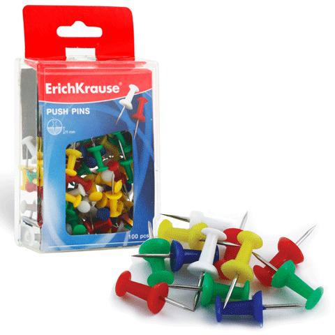 Силовые кнопки-гвоздики ERICH KRAUSE цветные, 100 шт. в пласт. коробке, 19749  Код: 222326
