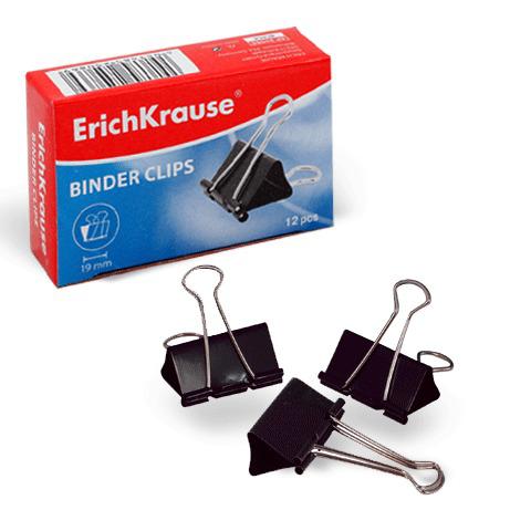 Зажимы для бумаг ERICH KRAUSE, КОМПЛЕКТ 12шт, 19 мм, на 70 л., черные, в картонной коробке, 25086  Код: 222328