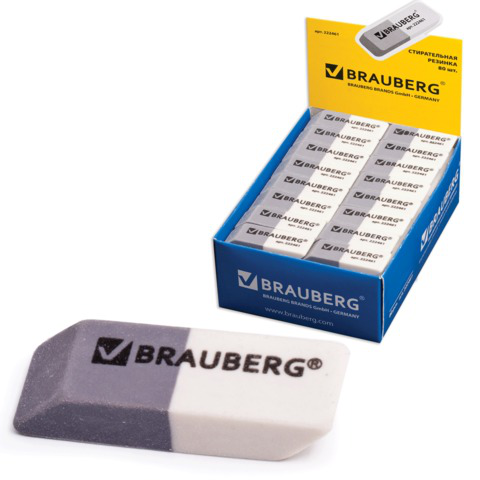 Резинка стирательная BRAUBERG (Брауберг) 41*14*8 мм, серо/белая, в картонном дисплее, 222461  Код: 222461