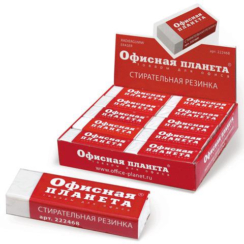 Резинка стирательная ОФИСНАЯ ПЛАНЕТА в картонном держателе, 60*20*11мм, белая, 222468  Код: 222468