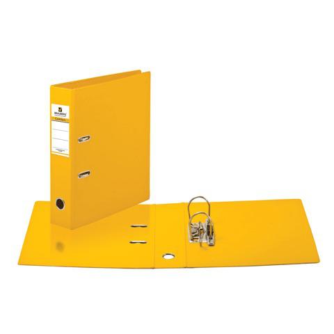 Папка-регистратор BRAUBERG (Брауберг) с двухсторонним покрытием из ПВХ, 70 мм, желтая, 222650  Код: 222650