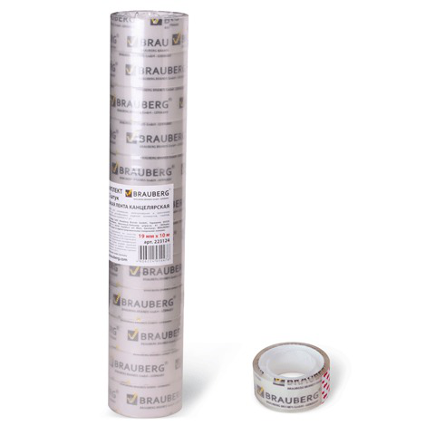 Клейкие ленты (скотч) 19мм х 10м канцелярские BRAUBERG, КОМПЛЕКТ 12шт., прозрачные  гарантир. длина, 223124  Код: 223124