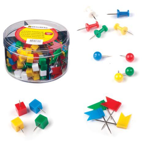 Набор BRAUBERG (Брауберг) силовые кнопки 60шт, шарики 60шт, кубики 60шт, флажки 60шт, цилиндр, 223518  Код: 223518