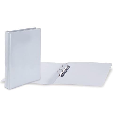 Папка на 2 кольцах с передним прозрачным карманом BRAUBERG, картон/ПВХ, 50мм, белая, до 400л, 223528  Код: 223528