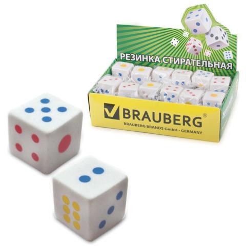 """Резинка стирательная BRAUBERG (Брауберг) """"Game"""", в форме игральной кости, 24*24*24 мм, белая, пакет, 223605  Код: 223605"""