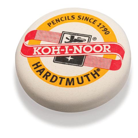 Резинка стирательная KOH-I-NOOR круглая, диаметр 41мм, белая, картонный дисплей, 6240  Код: 224328