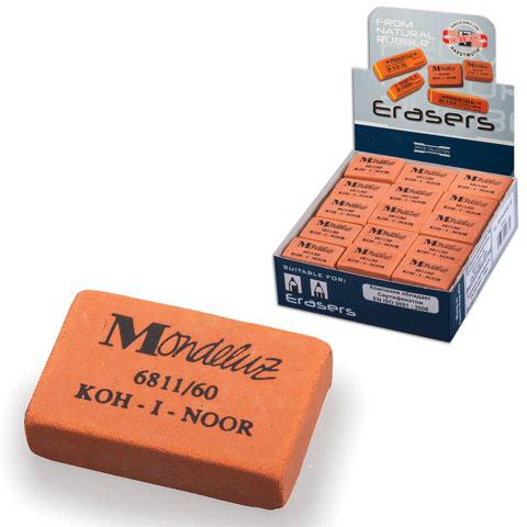 """Резинка стирательная KOH-I-NOOR """"Mondeluz"""", прямоуг, 31х21х7мм, оранжевая, картонный дисплей,6811/60  Код: 224330"""