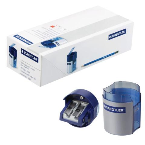 Точилка STAEDTLER (Германия), 2 отверстия, с контейнером, пластиковая, круглая, 512001  Код: 224465