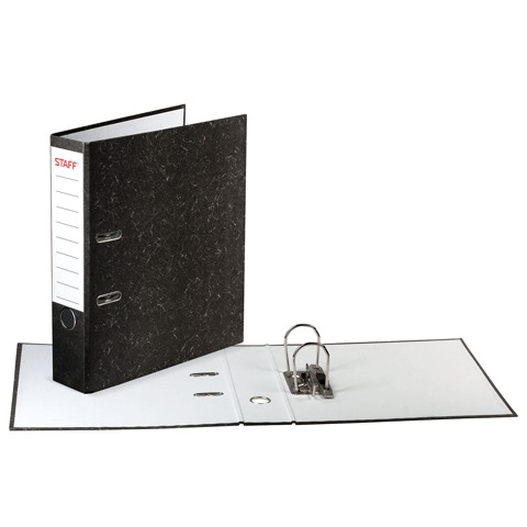 Папка-регистратор STAFF с мраморным покрытием, 70 мм, без уголка, черный корешок, 224616  Код: 224616