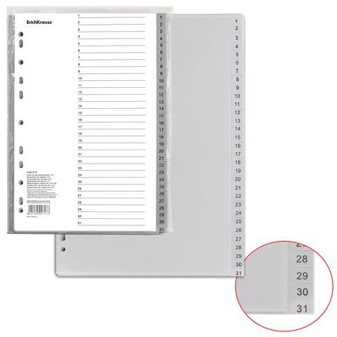 Разделитель пластиковый ERICH KRAUSE для папок А4, цифровой 1-31, с ламинир. оглавлением, 2713  Код: 224637