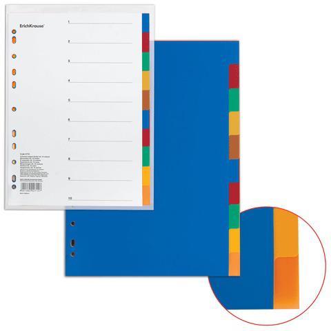 """Разделитель пластиковый ERICH KRAUSE """"Divider colored"""" для папок А4, по цветам 10 цветов,с оглавл.,2715  Код: 224642"""
