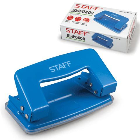 Дырокол STAFF металлический, на 10 листов, без линейки, синий, 224648  Код: 224648