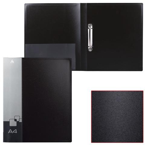 Папка 2 кольца БЮРОКРАТ 27мм, черная, внутр. карман, до 150 листов, 0,7мм, 0827/2Rblck  Код: 224816