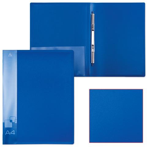 Папка с металическим скоросшивателем и внутренним карманом БЮРОКРАТ синяя, до 100 листов, 0,7мм, PZ07Pblue  Код: 224824