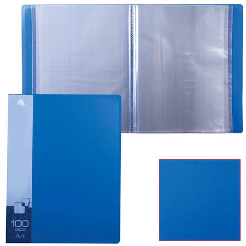 Папка 100 вклад. БЮРОКРАТ синяя, 0,8мм, BPV100blue  Код: 224829