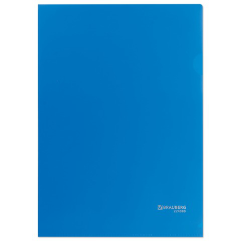 Папка-уголок жесткая, непрозрачная BRAUBERG, синяя, 0,15мм, 224880  Код: 224880