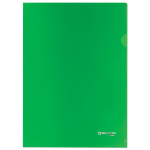 Папка-уголок жесткая, непрозрачная BRAUBERG, зеленая, 0,15мм, 224881  Код: 224881