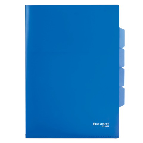 Папка-уголок 3 отделения, жесткая, BRAUBERG, синяя, 0,15мм, 224885  Код: 224885