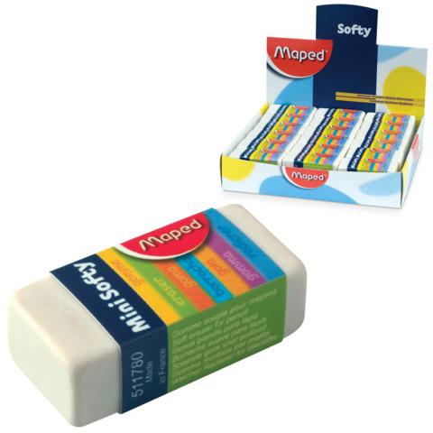"Резинка стирательная MAPED (Франция) ""Softy Mini"", 39х18х12,5мм, белая, карт. держ, дисплей, 511780  Код: 224954"