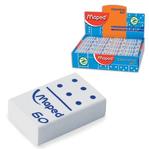 "Резинка стирательная MAPED (Франция) ""Domino 60"", 28х19х8,8мм, белая, в виде домино, дисплей, 511260  Код: 224960"